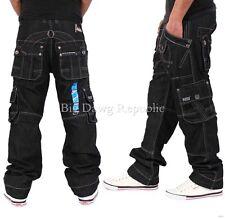Peviani Mens Boys Cargo Combat Star 002 Blk Jeans Time G Is Money Loose Hip Hop