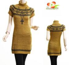 Women Mustard Tweed Knit Turtleneck Slim Fit Pullover Sweater Dress Tunic Top