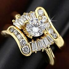 9K GOLD GF INFINITY LAB DIAMOND ANTIQUE ENGAGEMENT WEDDING LADY CLUSTER RING SET