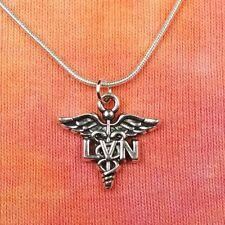 "LVN Licensed Vocational Nurse Necklace 16""-36"" Caduceus Nursing RN Healthcare"