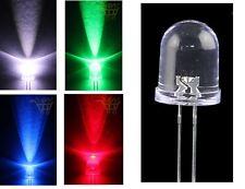 2 LED 10mm ALTA LUMINOSITA' BIANCHI BLU ROSSO VERDE GIALLO Diodi luce grandi