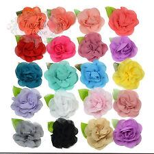 6cm Chiffon Feel Fabric Flower & Leaf Hair Clips Grips. Bridesmaid Accessories.