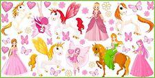 WANDTATTOO Prinzessin Elfen Einhorn Schmetterlinge Blumen Wand Aufkleber SET 3