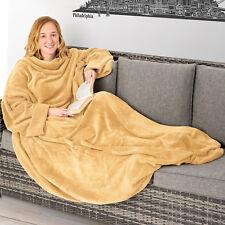 Couverture polaire douillette avec des manches et poche TV 150x180cm beige