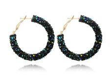 Austrian CRYSTAL Hoops Earrings Statement Black Blue Wedding Bridesmaid Bridal