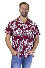 Funky Hawaiian Shirt Hibiscus Maroon Red  B goods