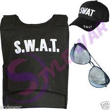 Boys SWAT School Fancy Dress Vest Hat Aviator Sunglasses Combo Special Tactics