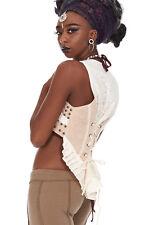 Natural Hemp Vest, Beige Boho Hippy Festival Waistcoat, Lace Frills Jacket