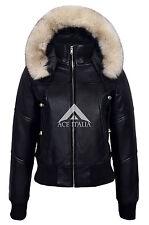 1992 Donna Casual Nero Bomber Stile Designer Vera Pelle Italiana Fur Giacca
