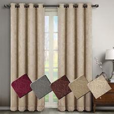 Bella Pair (Set of 2) Blackout Weave Embossed Grommet Window Curtain Panels