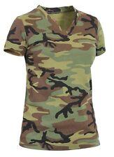 Ladies Woodland Camo V-NECK T-Shirt Army Navy USMC USAF Hunting Long Length