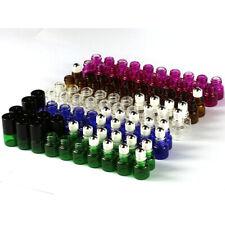 5 - 100 pcs Empty 1ml 2ml Color Glass Roll On Bottles Metal Roller Ball & Opener
