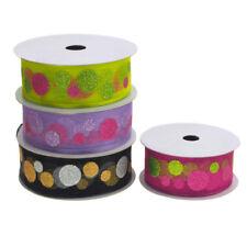 Glitter Dots Christmas Organza Ribbon Wired Edge, 1-1/2-Inch, 25 Yards