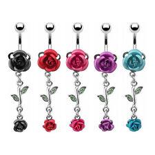 Bauchnabelpiercing Schmuck Stecker mit Rosen Blüten Anhänger