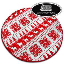 "Modern Circle Rugs Cream Red "" Xmas "" Christmas Star Snowflake Winter"