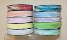 "Glitter Sparkle Ribbon 5mm (1/4"") wide 1m, 2m or 5m lengths 10 Colours"