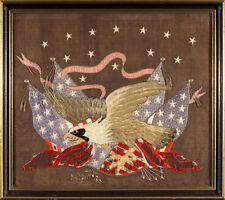 Vintage Silk Embroidered Flag Textile