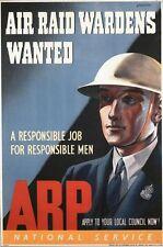 Vintage World War 2 ARP Air Raid Warden Recruitment Poster A3/A2/A1 Print