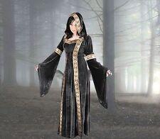 Mittelalter Gothic LARP Gewand Kleid m. Kapuze grün blau schwarz rot 36 38 40 42