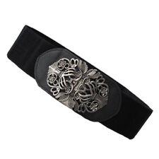 Black Ladies Women Stretch Elasticated Waist Belt 60mm Wide with Metal Buckle
