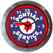 Pontiac Service neon clock sign Garage open Indian Head