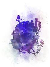 ART PRINT Howl's Moving Castle illustration, Anime, Studio Ghibli, Wall Art Gift