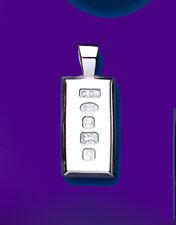 "Solid Silver Ingot Pendant Feature Hallmark Unisex Mens Ladies 1/5 Ounce 14-30"""