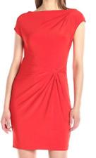 Anne Klein 10636966-J37 Tomato Red Double Twist Matte Stretch Jersey Dress, $129