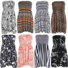 New Ladies Boob Stretch Sheering Tops Printed Summer Boho Tops 8-22