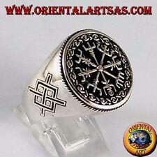 Anello d'argento 925 , vegvisir con Gungnir, lancia di Odino, runa