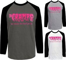 The Cramps Mens PSYCHOBILLY Raglan Baseball T-Shirt Bad Music for Bad People