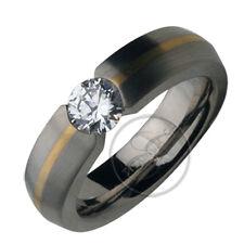 Titanium & 9ct Gold Ring .85ct  Single Stone Engagement Ring