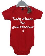 Early Release For Good Behaviour BabyGrow Present Funny Unisex Gift Birthday Kid
