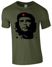 Che Guevara faccia silhouette iconica CUBA RIVOLUZIONE politico retrò da uomo T Shirt