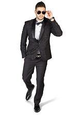 Slim Fit 1 Button Shawl Satin Collar Floral Jacket Tuxedo Black Pants  AZAR 1714