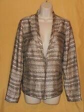 Premise women Winter Soiree gold black woven blazer coat jacket V top ls 6 $138