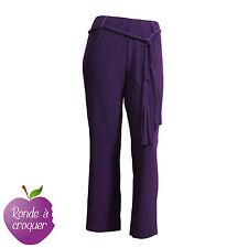 Grande taille - Pantalon fluide violet avec ceinture tressée 44 46 48 50 52 54