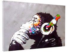 BANKSY DJ MONKEY GORILLA CHIMP CANVAS PICTURE WALL ART LARGE