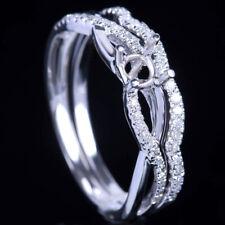 Hot!10k White Gold Semi-Mount Setting Engagement Diamonds Ring Sets Round 4-4.5m