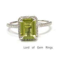 Green Peridot Diamond Engagement Ring,6x8mm Emerald Cut,14K White Gold,Wedding