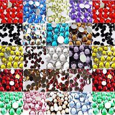 1,000 Crystal Rhinestones - Flat Back Diamante Gems - 4 Sizes & 21 Colours