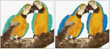 "Bleu / turquoise & gold macaws (ARA ARARAUNA) 9 ""x 8"", Cross Stitch Kit / graphique, 14 Comte"
