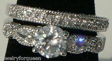 Vintage style CZ Cubic Zirconia Bride Engagement Band Wedding Ring set 18K GP