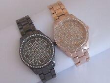 NY LONDON Jewelled Gunmetal / Rose Gold Tone CRYSTAL FASHION ELEGANTE Bling Watch