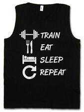 Train Eat Sleep Repeat Men Tank Top Vest Hard Pain No Gain Fun Muscle Gainz Fun