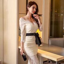 Elegante vestito abito tubino lungo bianco pizzo maniche lunghe 4120 246bce2dc50
