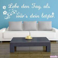 "WANDTATTOO Spruch ""Lebe den Tag"" - Zitat Ranke Blumen Wandaufkleber"
