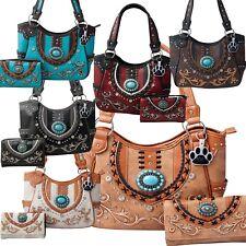 Western Handbag Tote Concho Lace Concealed Carry Women Shoulder Bag Purse Wallet
