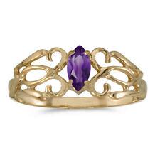 14k Yellow Gold Marquise Amethyst filigree Ring