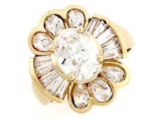 10k or 14k Gold Baguette & Oval White CZ Ladies Floral April Birthstone Ring